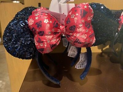 Disney Parks Minnie Mouse Ears Sequined Headband Bow 2019 Pink NWT