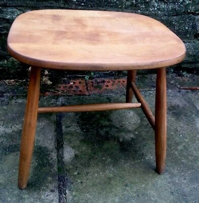 Vintage Solid Pine Stool Or Side Table
