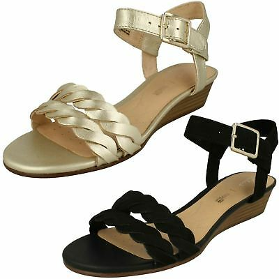 05330c28d72 Ladies Clarks Leather Buckle Low Wedge Casual Ankle Strap Sandals Mena  Blossom