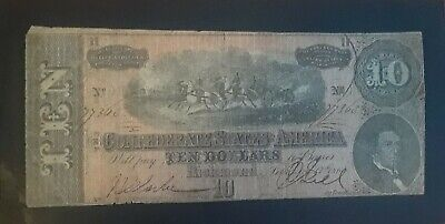 1864 CONFEDERATE STATES OF AMERICA CURRENCY $5 or $10  CSA AUTHENTIC CIVIL WAR