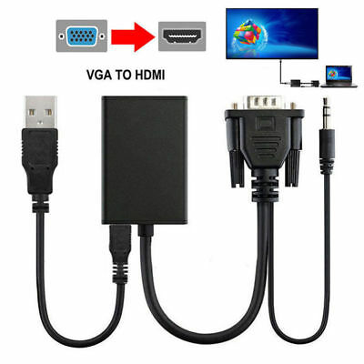 VGA Male To HDMI Output 1080P HD+Audio TV AV HDTV Video Cable Converter AdapterG