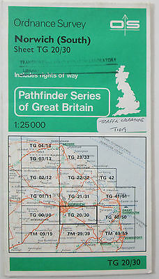 1983 old vintage OS Ordnance Survey 1:25000 Pathfinder map Norwich TG 20/30