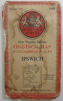 1948 old vintage OS Ordnance Survey New Popular Edition One-inch map 150 Ipswich