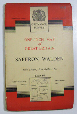 Vintage 1954 OS Ordnance Survey One-Inch Seventh Series map 148 Saffron Walden