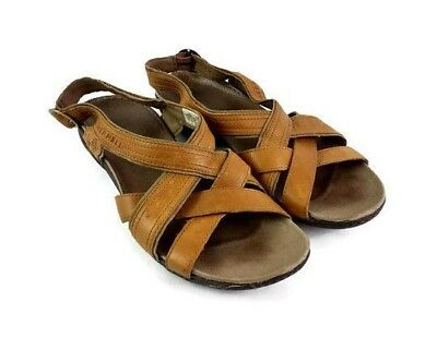 ec2441a9a96e Merrell Women Brown Leather Bassoon Slingback Strap Sandal Size 7 M Casual