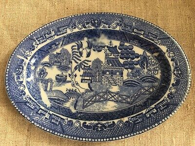 Vintage Oriental Chinese Scene Blue Willow Porcelain Dish Small Platter RARE