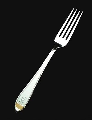 """Tiffany & Co Sterling Silver Feather Edge Dinner Fork - 7 1/2"""" Mono R"""