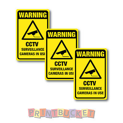 CCTV Warning stickers 3 pack 100mm quality water & fade proof vinyl security
