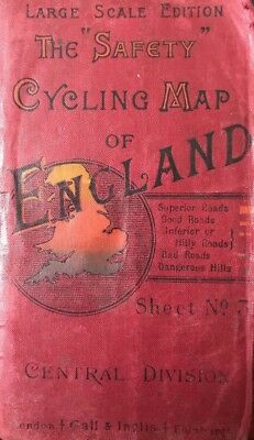 "Gall & Inglis The ""Safety"" Cycling Map Of England - Sheet 3 Central - 1890s"