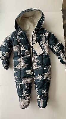 a398f9389 Burberry Skylar Quilted Down Snowsuit Baby Boy Antique Blue Size 6 Month (68cm)