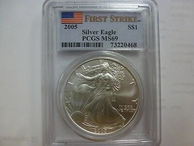 2005 $1 AMERICAN SILVER EAGLE 1 oz .999 PCGS First Strike Label MS69