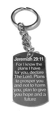 Jesus Christ Christian Bible Verse Jeremiah 29:11 for I Know the Plans Key Chain