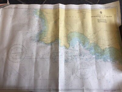 VINTAGE ADMIRALTY MARINE SEA CHART 1137 Approaches to ST. HELIER