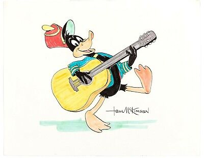 Daffy Duck Mixed Media Drawing Signed by Tom McKimson Warner Brothers 1980s
