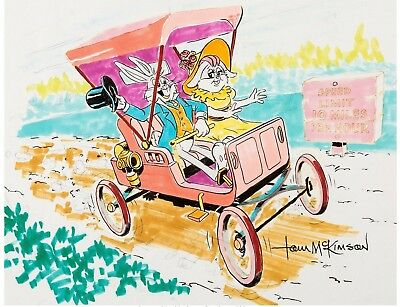 Bugs Bunny & Honey Bunny Drawing Signed by Tom McKimson Warner Brothers 1980s