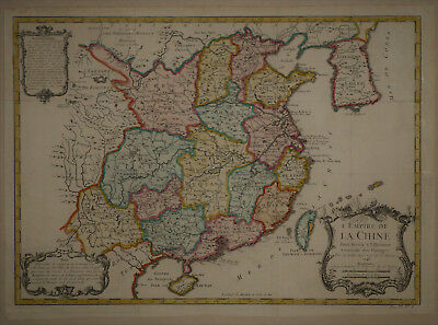1748 Genuine Antique Hand Colored Map China, Chine, Korea, Coree by J.N. Bellin