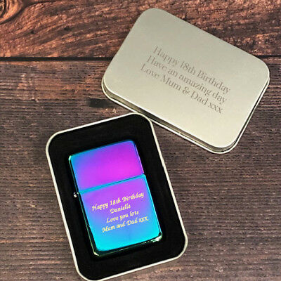 Personalised Rainbow Engraved Lighter In Gifts Tin Ideas For 18th 21st 30th 40th