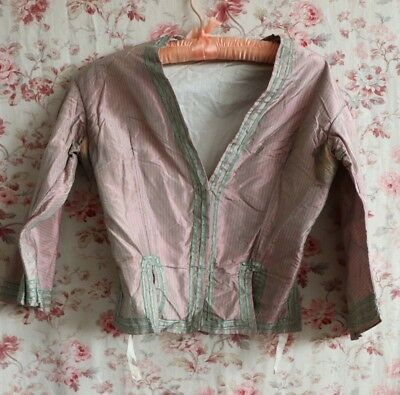 Antique 19thC Pink & Green Iridescent French Silk Woman's Bodice~Dolls