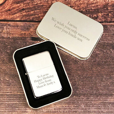 Chrome Personalised Star Engraved Lighter In Gift Tin Ideas For Presents Him Her