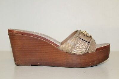 13aff34633f Tory Burch Womens Platform Wedge Sandal Sz 6.5 M Brown Leather Gold Tone  Shoe