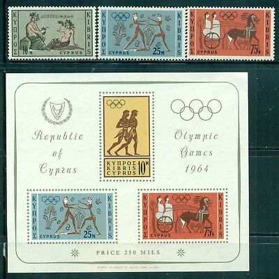 CYPRUS 241-43a SG246-48,MS248a MH 1964 Olympic Games Tokyo set of 3+MS Cat$10