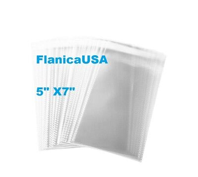 """5 X 7"""" Crystal Clear Self Adhesive Resealable Cello Lip Tape Poly Opp Bag 2 Mil"""