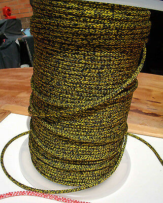 20m X 5mm BLACK & YELLOW DOUBLE BRAID POLYESTER YACHT MARINE SAILING ROPE 680kg
