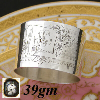 Antique to Vintage French Sterling Silver Napkin Ring, Guilloche Style Floral