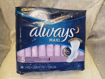 Always #5 Extra Heavy Overnight Maxi Pads with Flexi-Wings - 20 Count New