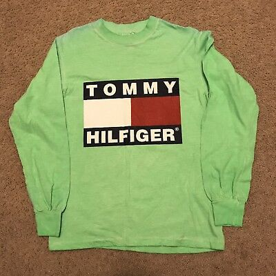 Details about Rare Vintage Bootleg Tommy Hilfiger H Oval Spell Out Logo T Shirt 90s Green XL