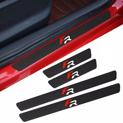 Seat FR Badge Carbon Fibre Plate Door Sill Protector Guard Stickers (LEON IBIZA)