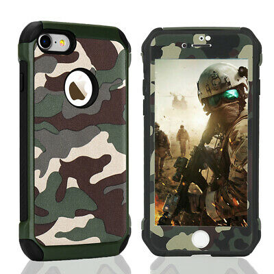 Case For iPhone 5S 6S 8 7 Plus XS XR 360° Camo Heavy Duty Protective Glass Cover