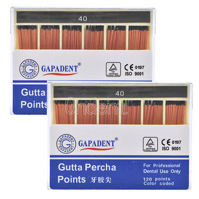 2Kit Dental GAPADENT Gutta Percha Points 0.02 40# 120 Points Color Coded FDA CE