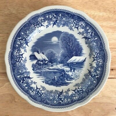 "SPODE WINTER'S EVE BLUE 6.25"" Bread & Butter Plate - England - NM - 2 Available"