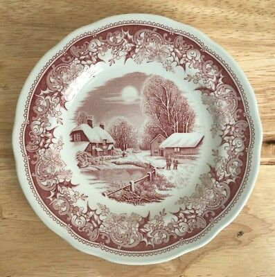 "SPODE WINTER'S EVE RED 6.25"" Bread & Butter Plate - England - EUC - 2 Available"