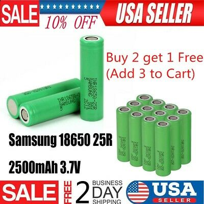 1 Pair SAMSUNG 25R 18650 2500mAh 35A HIGH DRAIN Rechargeable Battery Vape1 Mods