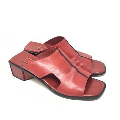 2f12e5bc66df Women s Cole Haan Studio Size 8AA Narrow Sandals Shoes Red Leather Slide Y15