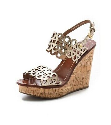 f5c4430c6 Tory Burch Daisy Wedge Sandals Gold Patent Leather Nori Laser Cut Shoes Sz  8.5