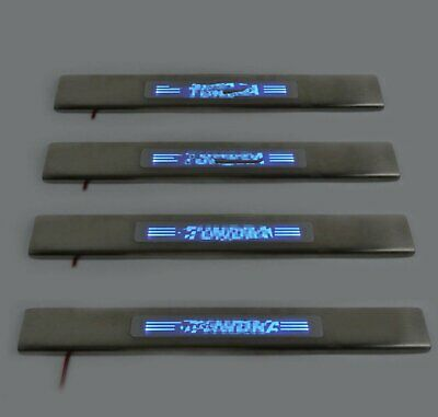 Blue LED Illuminated Door Sill Scuff Plate Cover for Toyota Tundra 2008-2016 4pc