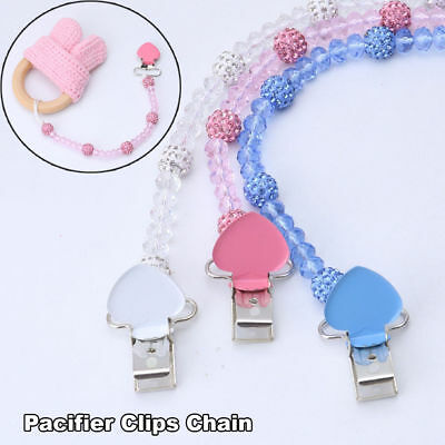 Baby Crystal Pacifier Clip Chain Infant Teething Toy Dummy Nipple Soother Holder