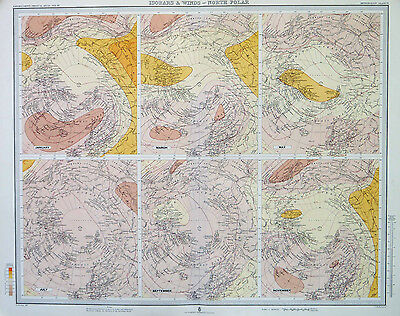 Map of North Pole Isobars & Winds Large 1899 Original Antique