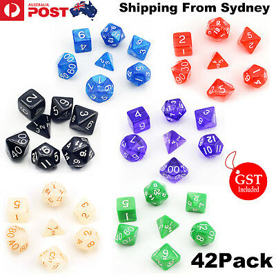 42 Pcs Polyhedral Dice for Dungeons Dragons DND RPG D20 D12 D10 D8 D6 Game Party