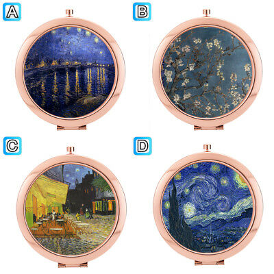 Vincent Van Gogh Oil Painting Compact Mirror Makeup Cosmetic Tools Rose Gold