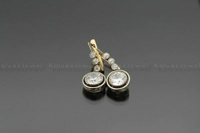 Vintage Old Mine Cut Art Deco Emerald Antique 14 K Yellow Gold Over Stud Earring