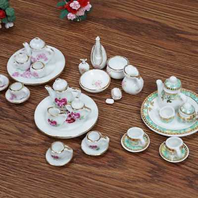 Set of 15  1:12  Doll House Mini Rose Design Ceramic Set Dish Cup·Plate