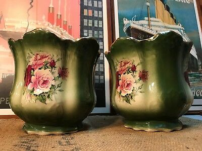 Pair Antique Vintage English Rose Decorated Porcelain Jardiniere Planter Pots