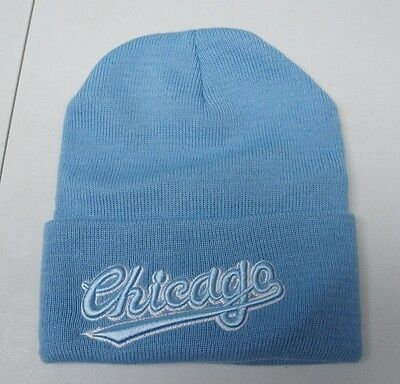 c567ea5a584 Chicago Unisex Adult One Size Fits All Blue 100% Acrylic Beanie Skull Cap  NEW
