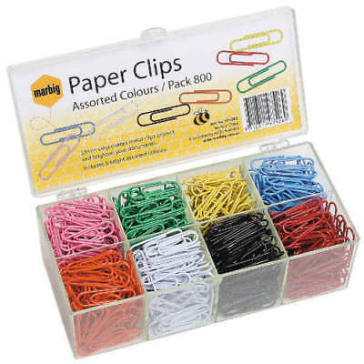 Marbig Coloured Paper Clips 33mm Box of 800 - AA975262