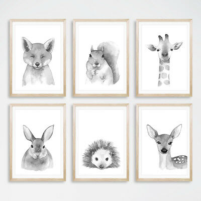 Black White Woodland Animal Art Prints Nursery Childrens