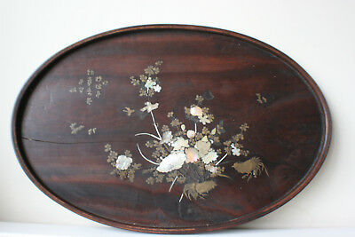 Japanese Chinese Wooden Carved Inlay Bronze & Mother of Pearl Large Plate Tray